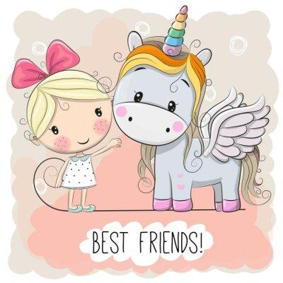 Poster Cute Cartoon Girl and Unicorn