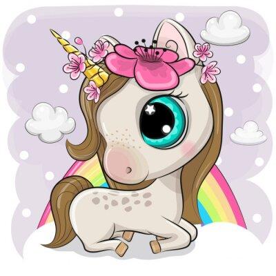 Poster Cute Cartoon Unicorn on clouds