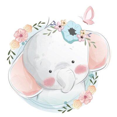 Poster Cute Elephant Portrait