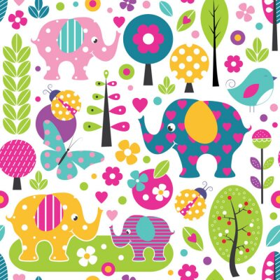 Poster cute elephants, ladybugs, butterflies and birds in a colorful forest pattern