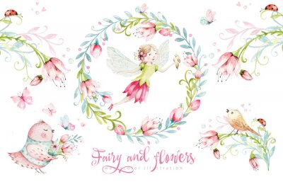Poster Cute Fairy character watercolor illustration on white background. Magic fantasy cartoon pink fairytale design. Baby girl birthday