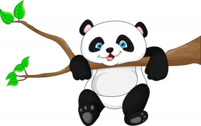 Poster Cute funny baby panda hanging on the tree