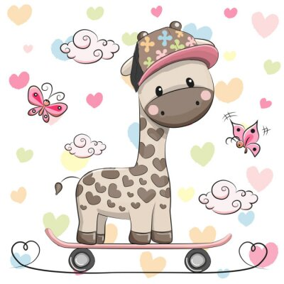 Poster Cute Giraffe with skateboard