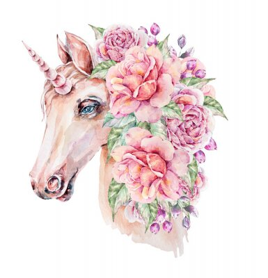 Poster Cute hand painted watercolor unicorn illustration. Lovely horse in floral wreath. Perfect for logo, wedding or greeting cards, print, pattern
