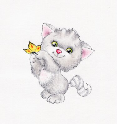 Poster Cute kitten with butterfly