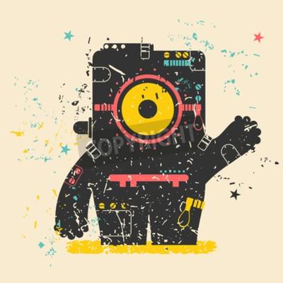 Poster Cute monster on retro grunge
