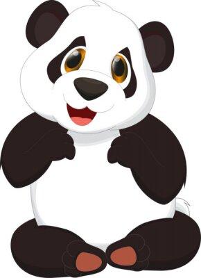 Poster cute panda cartoon