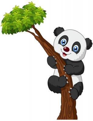 Poster Cute panda cartoon climbing tree