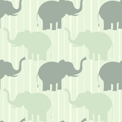 Poster cute pastel elephant seamless vector pattern background illustration