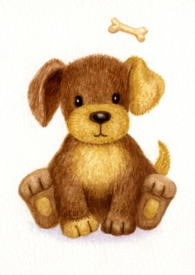 Poster Cute puppy, watercolor.