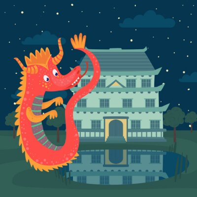 Poster Cute red dragon next to a castle at night, fairy tale story for children vector Illustration