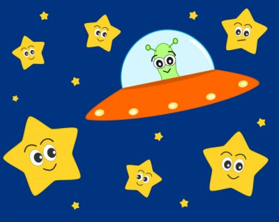 Poster cute ufo alien cartoon in the space with sweet lovely stars vector illustration for kids
