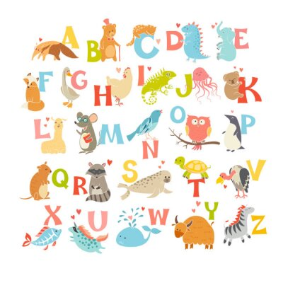 Poster Cute vector zoo alphabet. Funny cartoon animals. Vector Illustration EPS10 isolated on white background. Letters. Learn to read