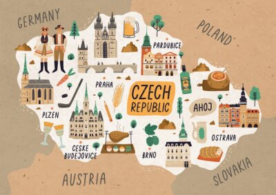 Poster Czech Republic cultural map hand drawn illustration. European country traditional symbols. People in authentic clothing, national dishes and sightseeing spots. Famous landmarks and food drawing.