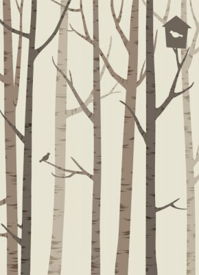 Poster decorative silhouettes of trees with a bird and birdhouse