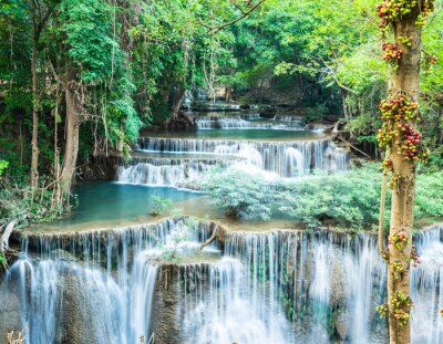 Poster Deep forest waterfall at Huay Mae Kamin, Kanchanaburi, Thailand