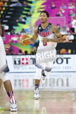 Poster Derrick Rose of USA Team in action at FIBA World Cup basketball match between USA and Mexico, final score 86-63, on September 6, 2014, in Barcelona, Spain