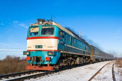 Poster Diesel local train in Ukraine.