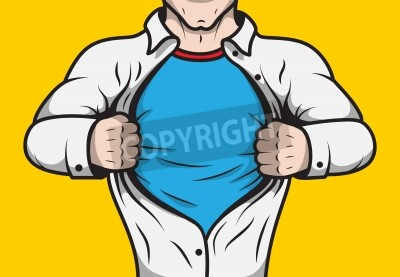 Poster Disguised comic book hero adult man under cover opening his shirt template