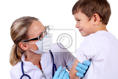 Poster Doctor doing vaccine injection to child