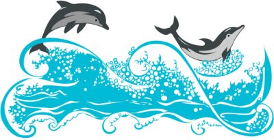 Poster Dolphins jumping in waves