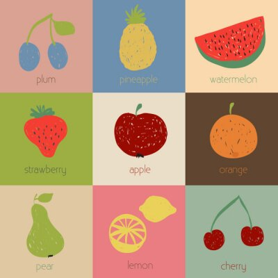 Poster Doodle fruit icons in retro colors