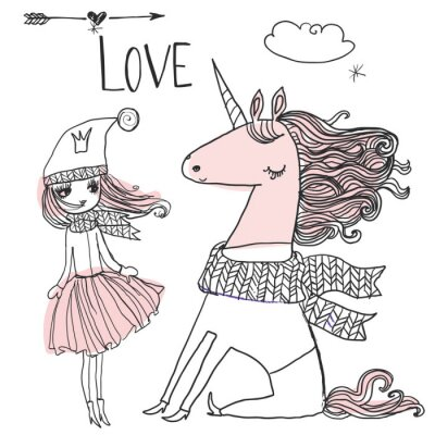 Poster doodle princess with unicorn