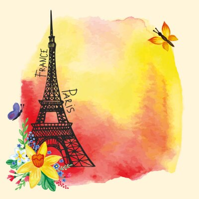 Poster Eiffel tower,Watercolor stain,Narcissus bouquet.Paris card
