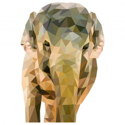 Poster Elefant aus Dreiecken geformt auf weißem Hintergrund im quadratischen Format