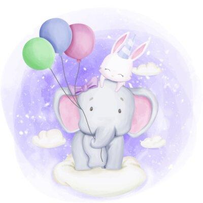 Poster Elephant and Rabbit Celebrate Birthday