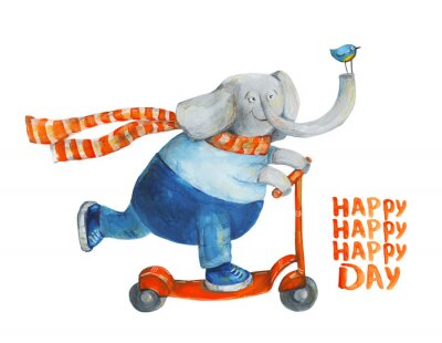 Poster Elephant on scooter with bird. Happy day. Watercolor and gouache Illustration