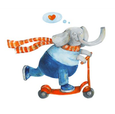 Poster Elephant on scooter with heart. Love. Watercolor and gouache Illustration