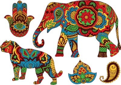 Poster elephant, tiger, Butt and lotus, hand-painted in the style of mehendi
