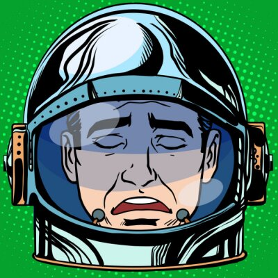 Poster emoticon sadness Emoji face man astronaut retro