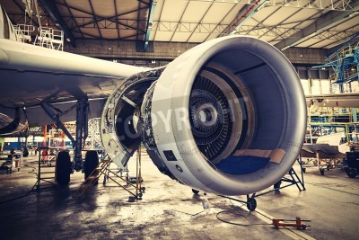 Poster Engine of the airplane under heavy maintenance