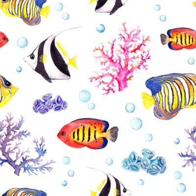 Poster Exotic fishes, sea corals and water baubles. Repeating pattern. Watercolor