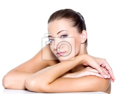 Face of a sresh beautiful young woman with health skin