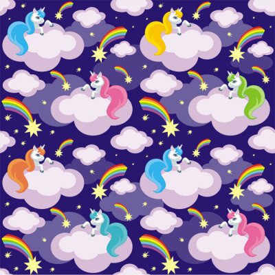 Poster Fairy children seamless pattern with the image of cute unicorns. Colorful vector background