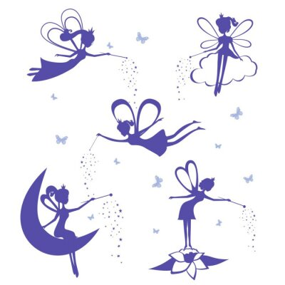 Poster Fairy silhouette vector set.