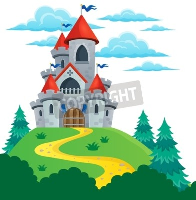 Poster Fairy tale castle theme image 2 - eps10 vector illustration.