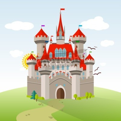 Poster Fairy-tale Castle. Vector Imagination Child Illustration. Flat Landscape with Green Trees, Grass, Path, Stones and Clouds