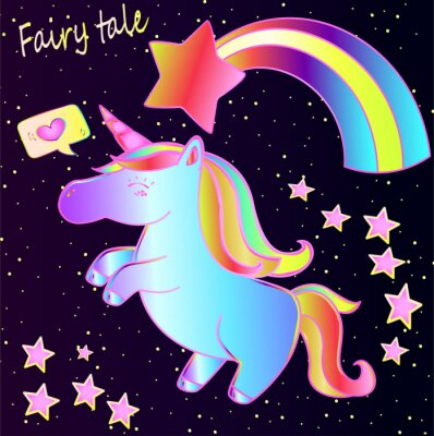 Poster Fairy tale - cute neon unicorn and rainbow with hearts and stars on a dark gradient background