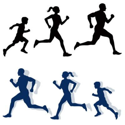 Poster family jogging silhouettes