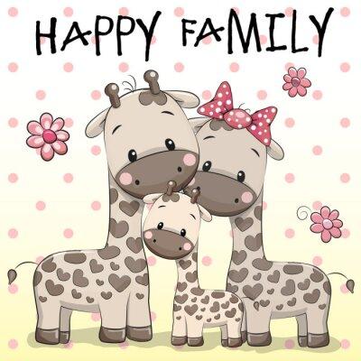 Poster Family of Three Giraffes