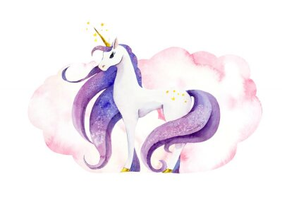 Poster Fantastic animal - unicorn in pink clouds/ Watercolor hand drawn illustration