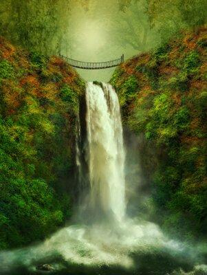 Poster fantastic waterfall and bridge