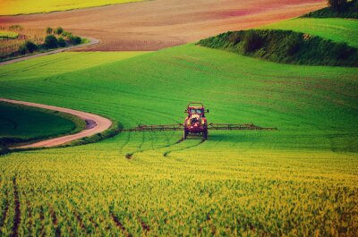 Poster Farm machinery spraying insecticide to the green field, agricultural natural seasonal spring background, vintag retro hipster style