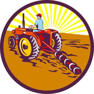 Poster Farmer On Tractor Circle Retro
