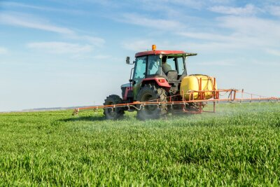 Poster Farmer spraying green wheat field