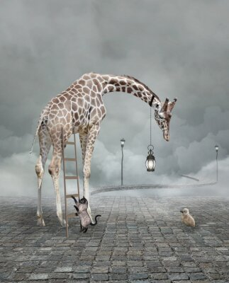 Poster Find a friend – Surreal conceptual illustration of a giraffe meeting a baby chicken